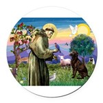 St Francis Chocolate Lab Round Car Magnet