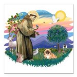 St.Francis #2 / Pekingese #1 Square Car Magnet 3&q