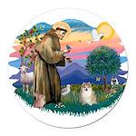 St.Francis #2/ Pomeranian (f) Round Car Magnet