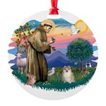 St.Francis #2/ Pomeranian (f) Round Ornament