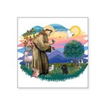 St.Francis #2/ Poodle (Toy Bl Square Sticker 3&quo