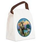St Francis / Poodle (parti) Canvas Lunch Bag