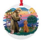 St.Fran #2/ Poodle (Std-ap) Round Ornament