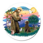 St.Francis #2 / Poodle (ST-Ch Round Car Magnet