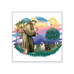 St.Francis #2/ Pugs (2-blk/f) Square Sticker 3&quo