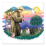 St.Francis #2/ Pugs (2-blk/f) Square Car Magnet 3&