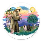 St.Francis #2/ Pugs (2-blk/f) Round Car Magnet