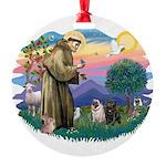 St.Francis #2/ Pugs (2-blk/f) Round Ornament