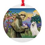 St Francis & Samoyed Round Ornament