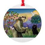 St Francis / Schipperke Round Ornament