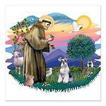 St.Francis #2/ Schnauzer #2 Square Car Magnet 3&qu