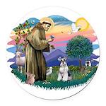 St.Francis #2/ Schnauzer #2 Round Car Magnet