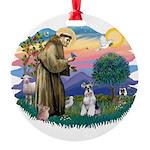 St.Francis #2/ Schnauzer #2 Round Ornament