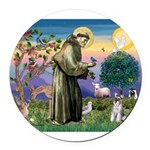 St.Francis / Mini. Schnauzer Round Car Magnet