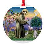 St.Francis / Mini. Schnauzer Round Ornament