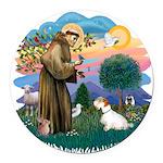 St Francis #2/ Sealyham T Round Car Magnet