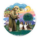 St.Francis #2/ 2 Shelties Round Car Magnet