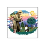 St.Francis #2/ Sheltie (tri) Square Sticker 3&quot