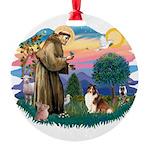 St.Francis #2/ Sheltie (sw) Round Ornament
