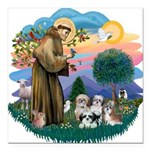 St.Francis #2/ Shih Tzus (4) Square Car Magnet 3&q
