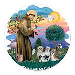 St.Francis #2/ Shih Tzus (4) Round Car Magnet