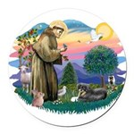 St.Francis #2/ Tibetan Spani Round Car Magnet