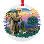 St.Francis #2/ Tibetan Spani Round Ornament