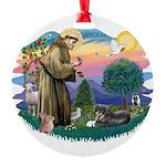 St.Francis #2/ Tibetan Spani Round Ornament