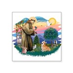 St.Francis #2/ Welsh Corgi Square Sticker 3&quot; 