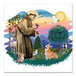 St.Francis #2/ Welsh Corgi Square Car Magnet 3&quo