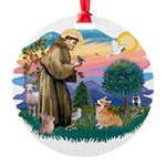 St.Francis #2/ Welsh Corgi Round Ornament