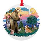 St.Francis #2/ Welsh Corgi Round Ornament