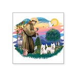 """St.Francis #2/ Westies (2) Square Sticker 3"""""""