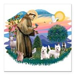 St.Francis #2/ Westies (2) Square Car Magnet 3&quo