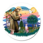 St Francis #2/ Whippet #7 Round Car Magnet