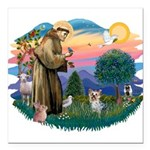 St Francis #2/ Yorkie #13 Square Car Magnet 3