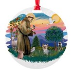 St Francis #2/ Yorkie #13 Round Ornament