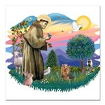 St Francis #2/ Yorkie #7 Square Car Magnet 3