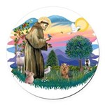 St Francis #2/ Yorkie #7 Round Car Magnet