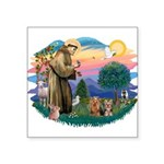 "St. Francis / 2 Yorkies Square Sticker 3"" x 3"