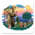 St. Francis / 2 Yorkies Square Car Magnet 3""