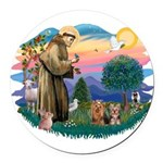St. Francis / 2 Yorkies Round Car Magnet