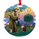 St. Fran (ff) - Maine Coon (# Round Ornament