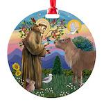 R-St Francis-ShetlandPONY.png Round Ornament