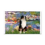 Lilies2-Tri Aussie Shep2 Rectangle Car Magnet