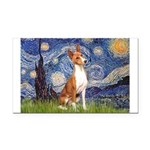 Starry Night & Basenji Rectangle Car Magnet
