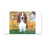 Monet's Spring & Basset Rectangle Car Magnet