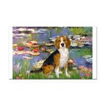 Lilies (#2) - Beagle #7 Rectangle Car Magnet