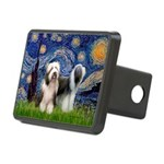 Starry / 2 Bearded Collies Rectangular Hitch Cover