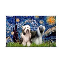 Starry / 2 Bearded Collies Rectangle Car Magnet